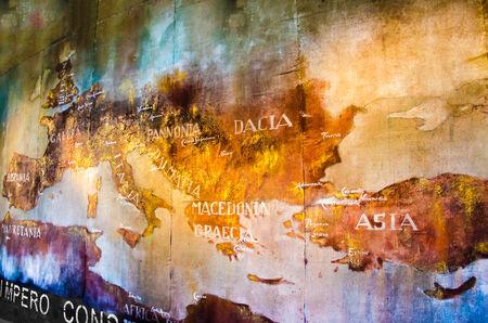 Foto de Old Map of roman empire painted on the wall of roman Colosseum - Imagen libre de derechos