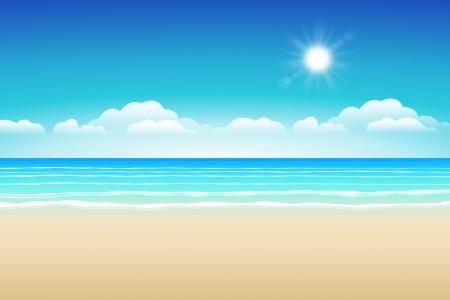 Illustration pour Seascape vector illustration  Paradise beach  - image libre de droit