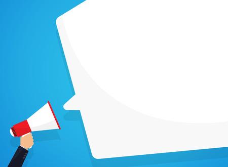 Illustration pour Speech bubbles announced by megaphone, illustration. - image libre de droit