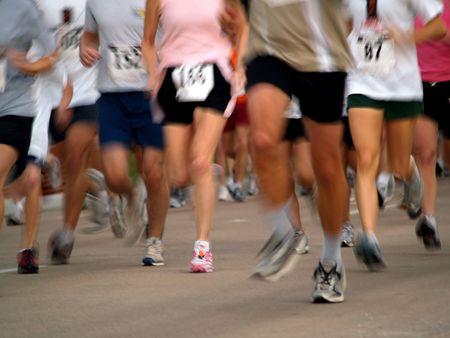 Runners in a long distance race - marathon