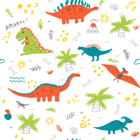 Illustration pour Vector seamless childish pattern with colorful dinosaurs, vulcan, palm tree, shell. Can be printed and used as wrapping paper, wallpaper, fabric, textile, background, etc - image libre de droit