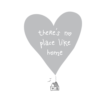 Illustration pour There is no place like home quote card. Can be used as placard, template, poster, banner, card, etc. - image libre de droit