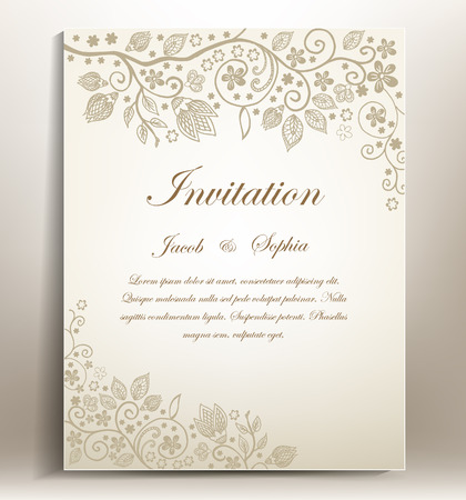 Illustration for classical Floral hand-draw wedding invitation - Royalty Free Image