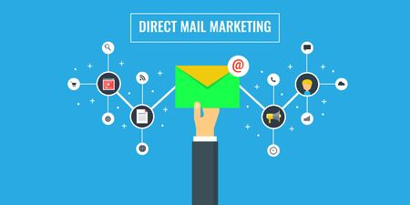 Illustration for Direct mail marketing, promotion, campaign, newsletter, subscription concept. - Royalty Free Image