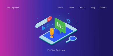 Illustration pour Voice search application, voice assistance on smartphone, 3d isometric style concept, web banner template - image libre de droit