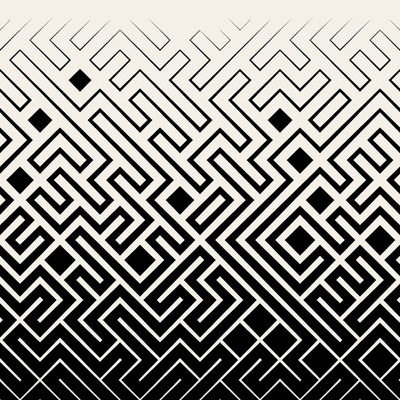 Illustration pour Vector Seamless Black & White Square Maze Lines Halftone Pattern Background - image libre de droit