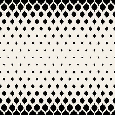 Ilustración de Vector Seamless Black & White Leaf Shape Halftone Pattern Background - Imagen libre de derechos