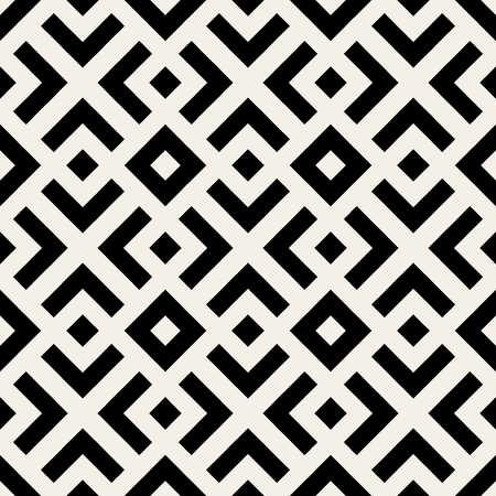 Illustration pour Vector Seamless Black And White  Geometric Lines Pattern Abstract Background - image libre de droit