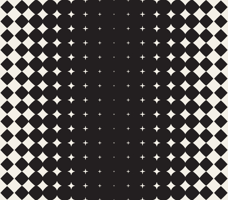 Illustration pour Vector Seamless Black and White Morphing Star Halftone Grid Gradient Pattern Geometric Abstract Background - image libre de droit