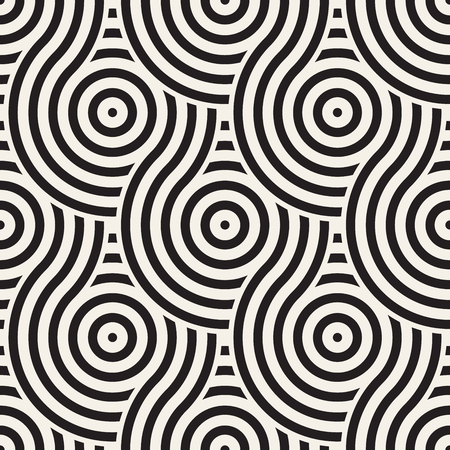 Ilustración de Vector seamless geometric pattern composed with circles and lines. Modern stylish rounded stripes texture. Repeating abstract decorative background - Imagen libre de derechos