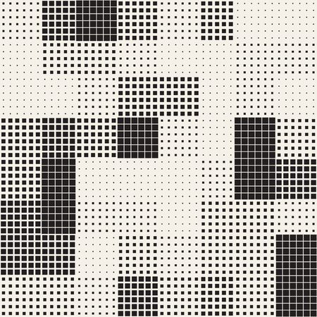 Illustration for Modern Stylish Halftone Texture. Endless Abstract Background With Random Size Squares. Vector Seamless Chaotic Squares Mosaic Pattern - Royalty Free Image