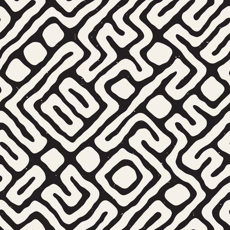 Illustration for Maze lines seamless pattern abstract grungy background vector hand drawn labyrinth. - Royalty Free Image
