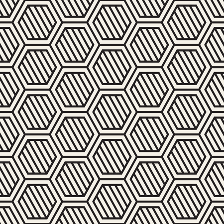 Illustration for A Vector seamless stripes pattern. Modern stylish texture with monochrome trellis. Repeating geometric hexagonal grid. Simple lattice design. - Royalty Free Image