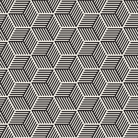Illustration for Vector seamless stripes pattern. Modern stylish texture with monochrome trellis. Repeating geometric hexagonal grid. Simple lattice design. - Royalty Free Image