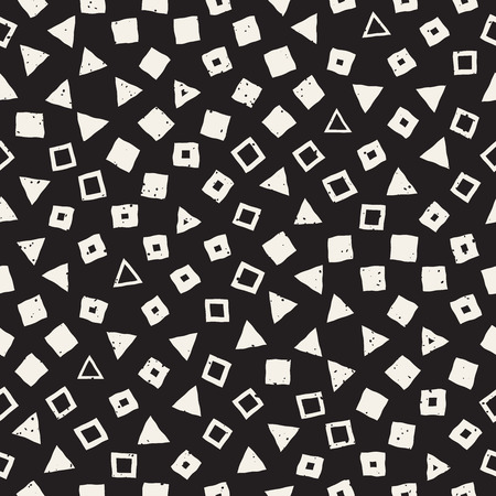 Ilustración de Hand drawn black and white ink abstract seamless pattern. Vector stylish grunge texture. Monochrome geometric scattered shapes paint brush lines - Imagen libre de derechos