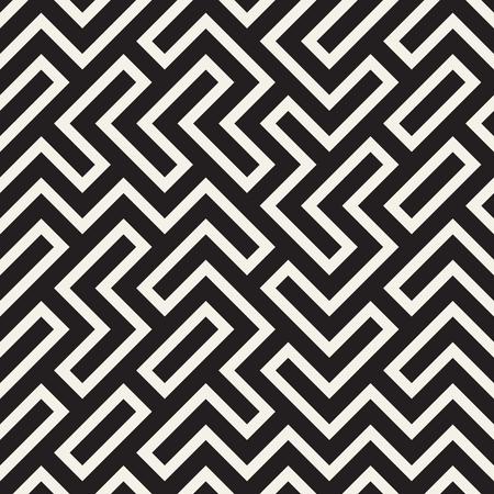 Illustration pour Stylish lines lattice. Ethnic monochrome texture. Abstract geometric background design. Vector seamless black and white pattern. - image libre de droit