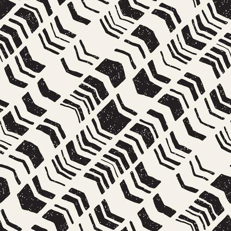 Ilustración de Seamless hand drawn style chevron pattern in black and white. Abstract vector grungy background - Imagen libre de derechos