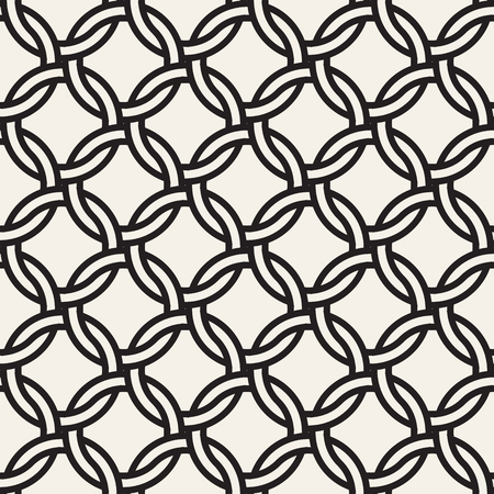 Ilustración de Vector chain seamless pattern. Stylish interweaving texture. Decorative geometric interlaced circle lines background. - Imagen libre de derechos