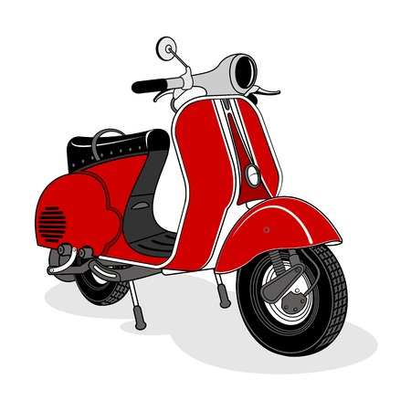 Foto de Vector illustration of vintage scooter. Emblems and label. Scooter popular means of transport in a modern city. Advertisements, brochures, business templates. Isolated on a black background - Imagen libre de derechos