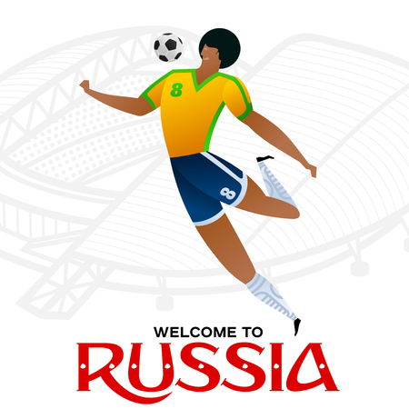 Soccer player against the background of the stadium with Welcome to Russia text.