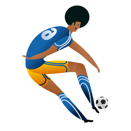 Soccer player on gray official background.  Football player in Russia. Full color vector illustration in flat style.
