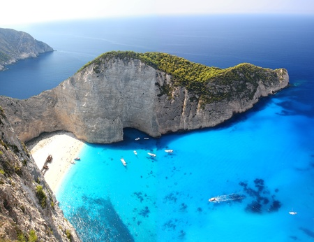 Foto de Famous European Beach Navagio in Zakynthos Island, Greece, part of Ionian Islands  - Imagen libre de derechos