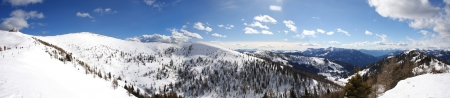 Panorama of winter Alps