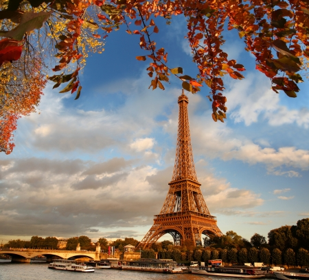 Eiffel Tower in autumn Pari mural
