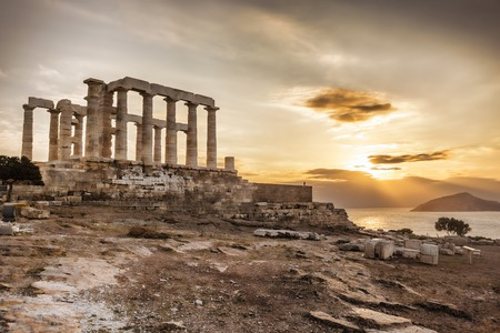 Photo for Famous Greek temple Poseidon,  Cape Sounion in Greece - Royalty Free Image