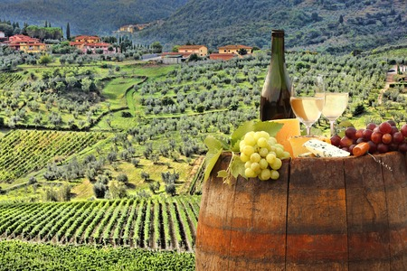 Photo pour White wine with barrel on famous vineyard in Chianti Tuscany Italy - image libre de droit