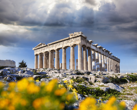 Photo for Parthenon temple with spring flowers on the Acropolis in Athens, Greece - Royalty Free Image
