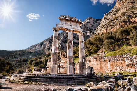 Photo for Delphi with ruins of the Temple in Greece - Royalty Free Image