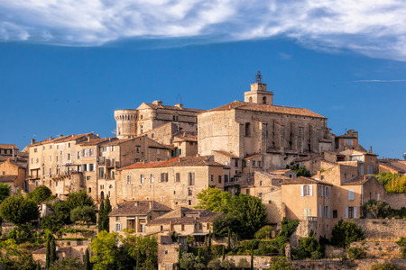 Photo for Famous old village Gordes in Provence against sunset in France - Royalty Free Image