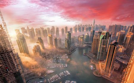 Photo for Dubai Marina with colorful sunset in Dubai, United Arab Emirates - Royalty Free Image
