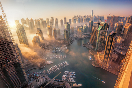 Photo for Dubai Marina with colorful sunset in Dubai, United Arab Emirates - Royalty Free Image