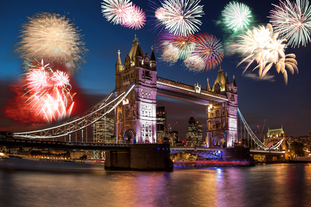 Foto de Tower Bridge with firework in London, England (celebration of the New Year) - Imagen libre de derechos