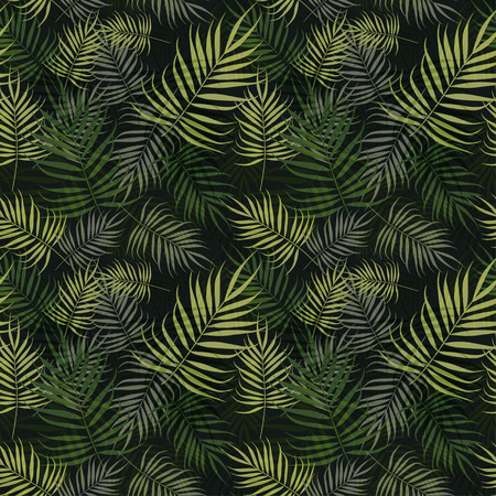 Illustration pour Green palm leaves pattern on black background - image libre de droit