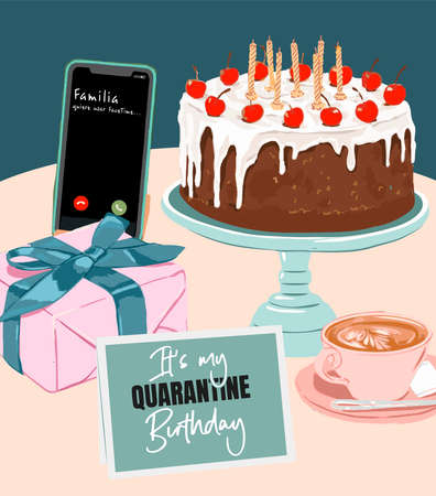 Ilustración de Birthday Party with Familia quiere usar FaceTime in Quarantine. Characters Celebrate Online Birthday Covid 19. Self Isolation. Virtual Meeting With family. birthday cake and pastries Flat Vector Illustration - Imagen libre de derechos