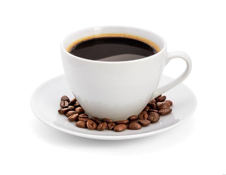 Foto de Cup of coffee, on white background, isolated - Imagen libre de derechos