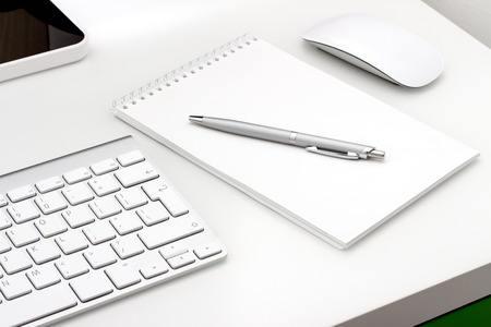 Photo for Workplace with notepad and keyboard, mouse - Royalty Free Image
