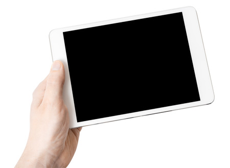 Photo for Digital tablet in one hand, on a white background, isolated - Royalty Free Image