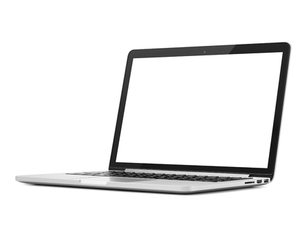 Foto de Laptop close-up on white background, isolated - Imagen libre de derechos