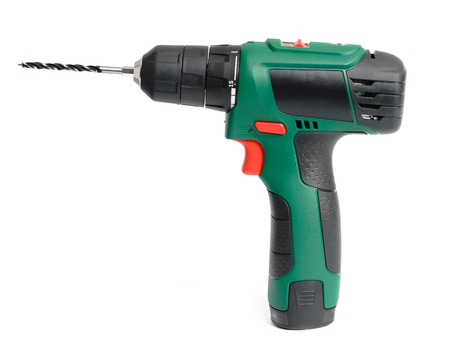 Photo pour Electric cordless hand drill, isolated on white - image libre de droit