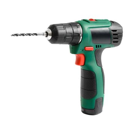 Foto de Electric cordless hand drill, isolated on white - Imagen libre de derechos