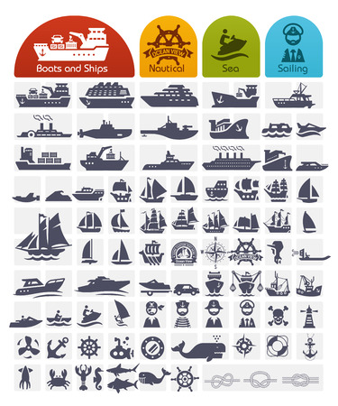 Ilustración de Ships and Boats Icons Bulk series -  over 80 high quality icons - Imagen libre de derechos
