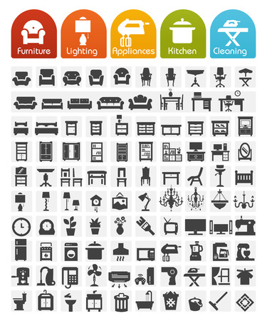 Ilustración de Furniture and home appliances Icons - Bulk series - Imagen libre de derechos