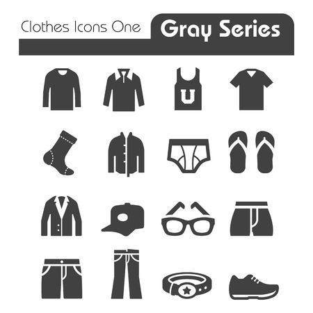 Illustration for Clothes Icons Gray Series One - Royalty Free Image
