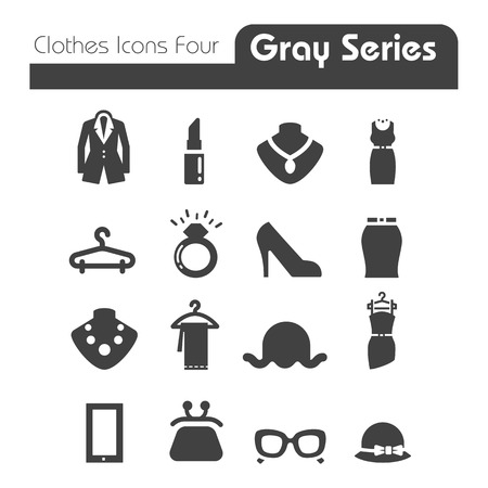 Illustration for Clothes Icons Gray Series Four  - Royalty Free Image
