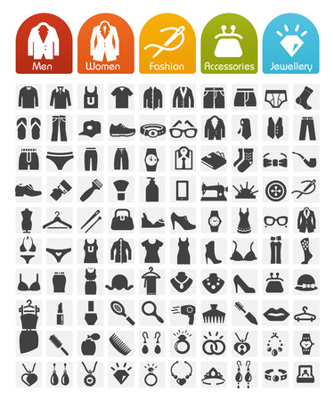 Illustration pour Clothes Icons Bulk Series - 100 Icons - image libre de droit