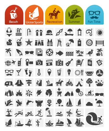 Illustration pour Summer Icons Bulk Series - image libre de droit